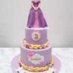 rapunzel disney purple fondant birthday kids cake