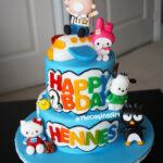 sanrio hello kitty xo pochacco cake