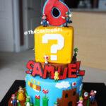 tall 3 tier super mario cake