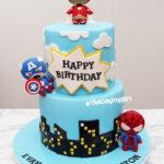 superhero fondant birthday cake for kids