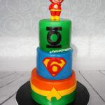 3 tier superhero flash birthday cake