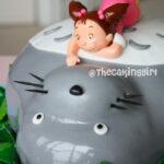cute totoro cake with little girl mei