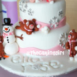 cute winter wonderland girl birthday cake fondant with snowflakes