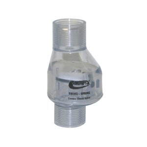 "3/4"" Swing/Spring Check Valve FPT x FPT Clear 1/2 lb Tension"