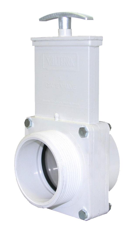 "3"" Valve FPT x MPT, w/ SS Paddle & Metal Handle, PVC White"