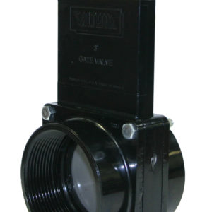 """3"""" Valve FPT x FPT, w/ SS Paddle & Metal Handle, ABS Black"""