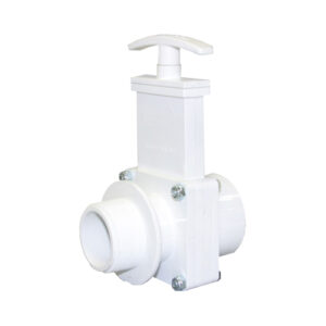 "1-1/2"" Valve MPT x Female Slip, w/ Plastic Paddle & Handle, PVC White"