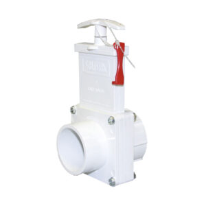 "2"" Valve Slip x Spigot, w/Gate Keeper, Plastic Paddle & Handle, PVC White"