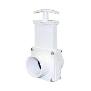 "2"" Valve Spigot x Spigot, w/ Plastic Paddle & Handle, PVC White"