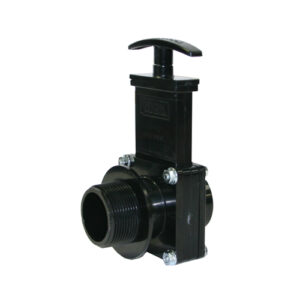 "1-1/2"" Valve MPT x Spigot, w/ Plastic Paddle & Handle, ABS Black"