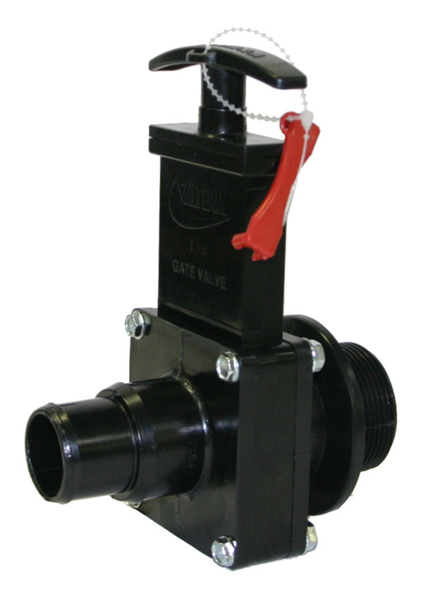 """1-1/2"""" Valve MPT x Step Down, w/Gate Keeper, Plastic Paddle & Handle, ABS Black"""