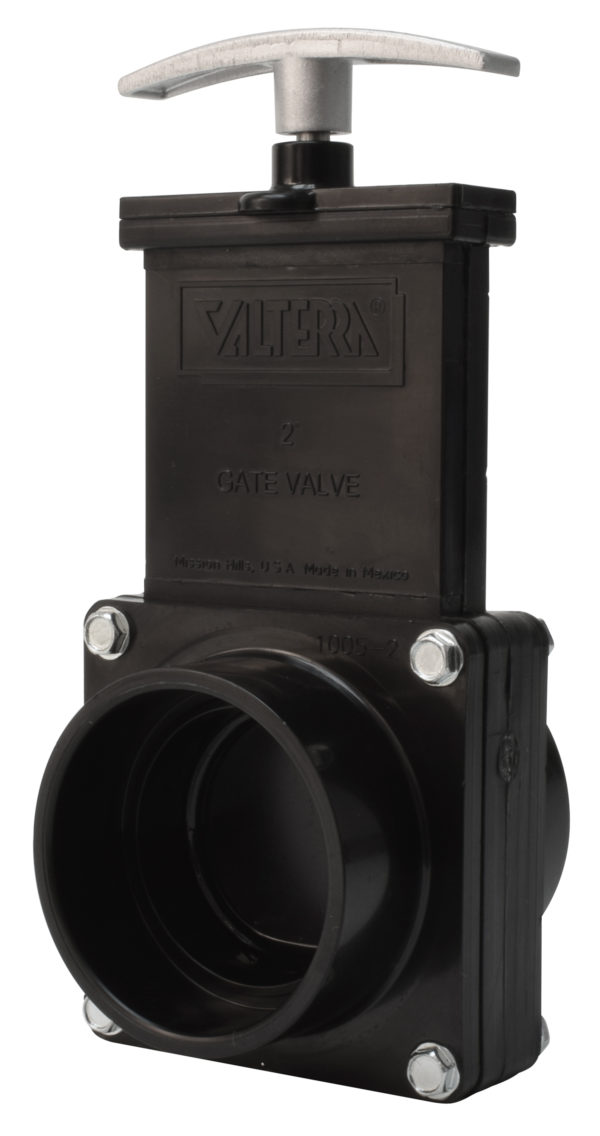 "2"" Valve Slip x Slip, w/ Plastic Paddle & Metal Handle, ABS Black"
