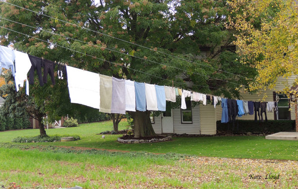 Laundry hangs on the line all-year round!
