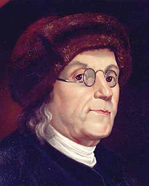 Color Portrait Ben Franklin Marten Cap