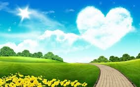 blue sky, green fields, heart shaped cloud with a path to a brighter future.