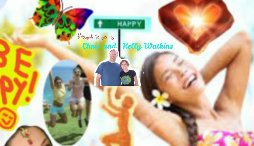 collage of happy people and things