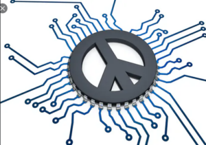 peace symbol on a mother board