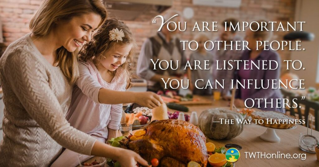 working together mom and daughter prepare a turkey. Words say you are important to others you are listened to you can influence others.
