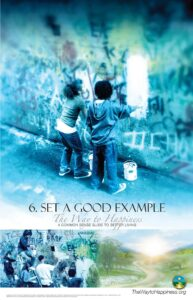 kids painting over graffiti in example of set a good example