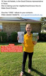 Making Good Choices booklet held up by young girl in Texas teaching the basic moral values in the book.