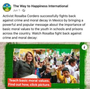 teacher in Mexico with happy kids teaching basic moral values bringing society up