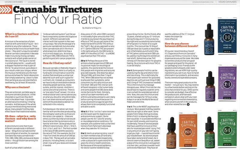 Cannabis Ratio Tinctures in Vegas Cannabis Magazine