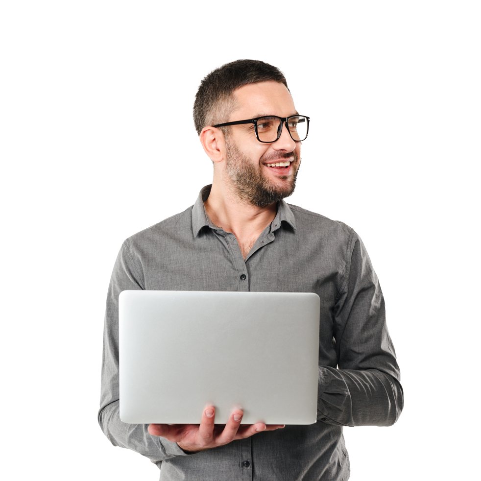 IT man holding his laptop