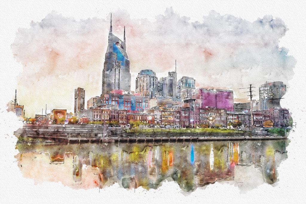 Iconic Nashville Skyline Mural