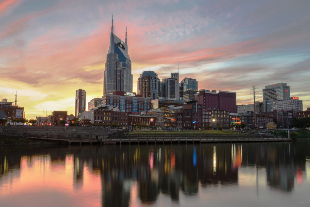 Nashville Tennessee skyline at dusk