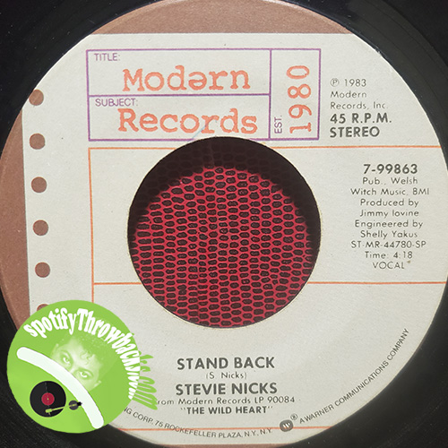 Stevie Nicks's Stand Back, released in 1983, was one of the few favorites I had, after she left Fleetwood Mac