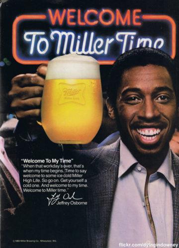 Jeffrey Osborne in classic MIller Time Bear ad. SpotifyThrowbacks.com