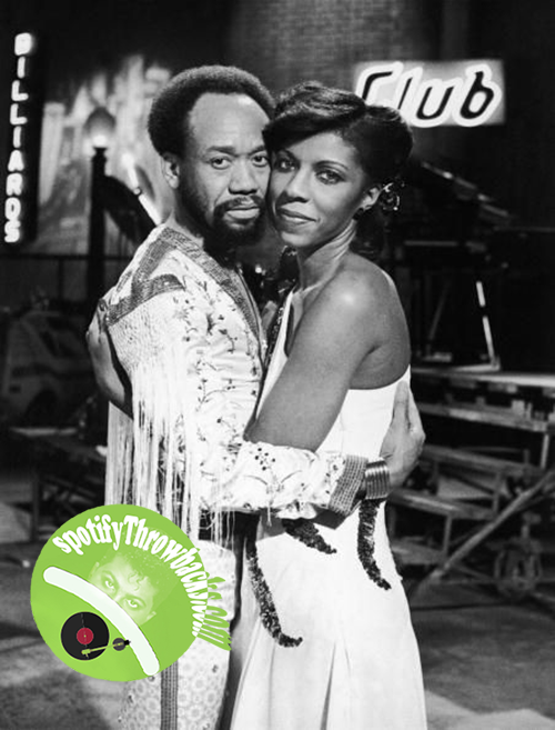 Natalie Cole embracing Earth, Wind & Fire's Maurice White. - SpotifyThrowbacks.com