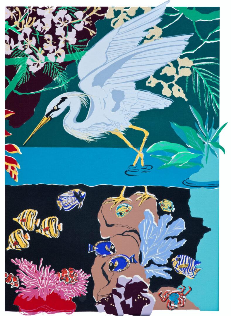 Peaceable Kingdom Panel B Heron LEP-09 Framed $325 & Unframed $225