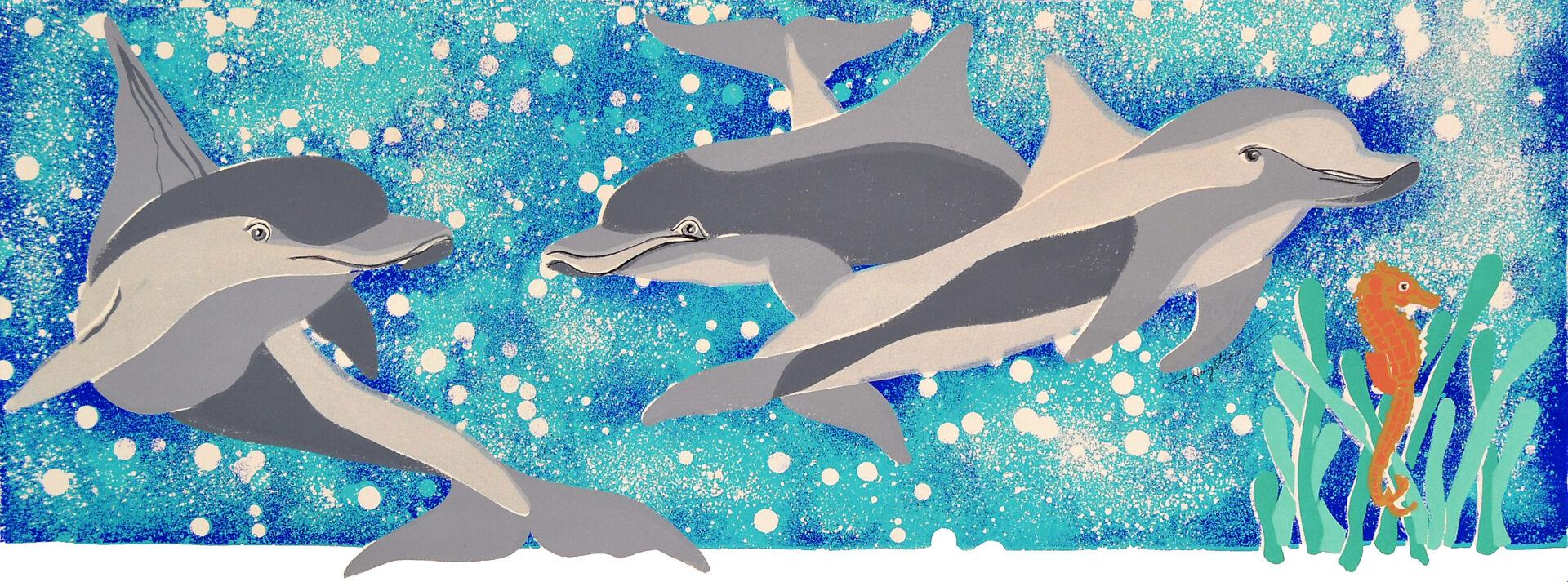 Dolphins PLay Time LEP-10 Framed $295 & Unframed $195
