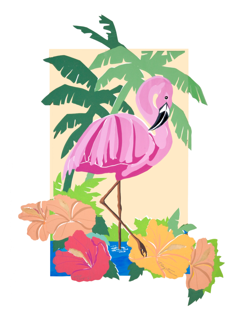 Flamingo with Hibiscus LEP-14 Framed $295 & Unframed $195