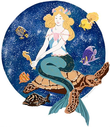 Mermaid with Turtles LEP-18 $325 & Unframed $225