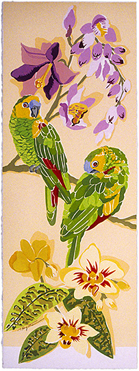Amazon Parrots Panel A LEP-23 Framed $295 & Unframed $195