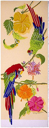 Macaw Parrot Panel B LEP-24 Framed $295 & Unframed $195