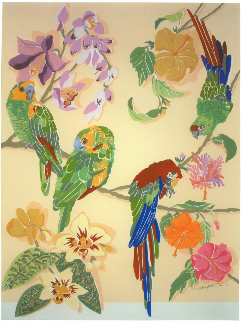 Parrots Paradise LEP-25 Framed $325 & Unframed $225