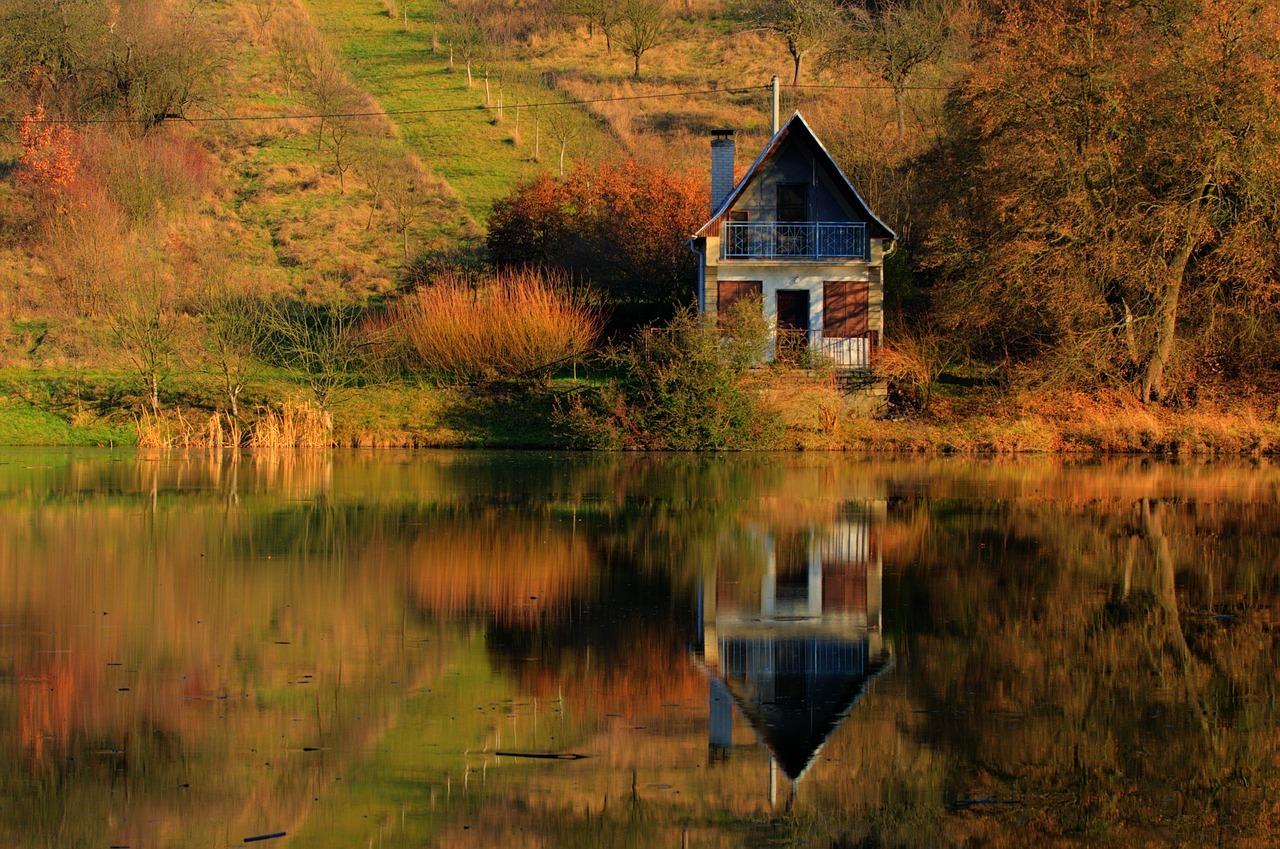 cottage, lake, mirror