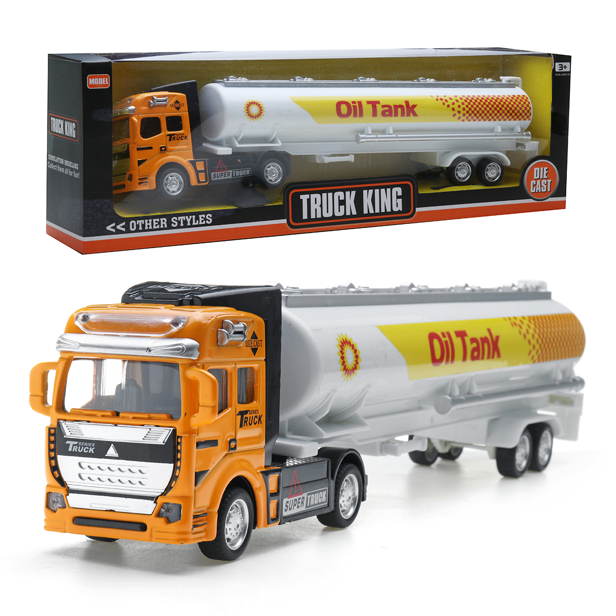 1:48 Alloy Pull Back Oil Tank Container Truck Diecast Car Model Toy for Kids Gift