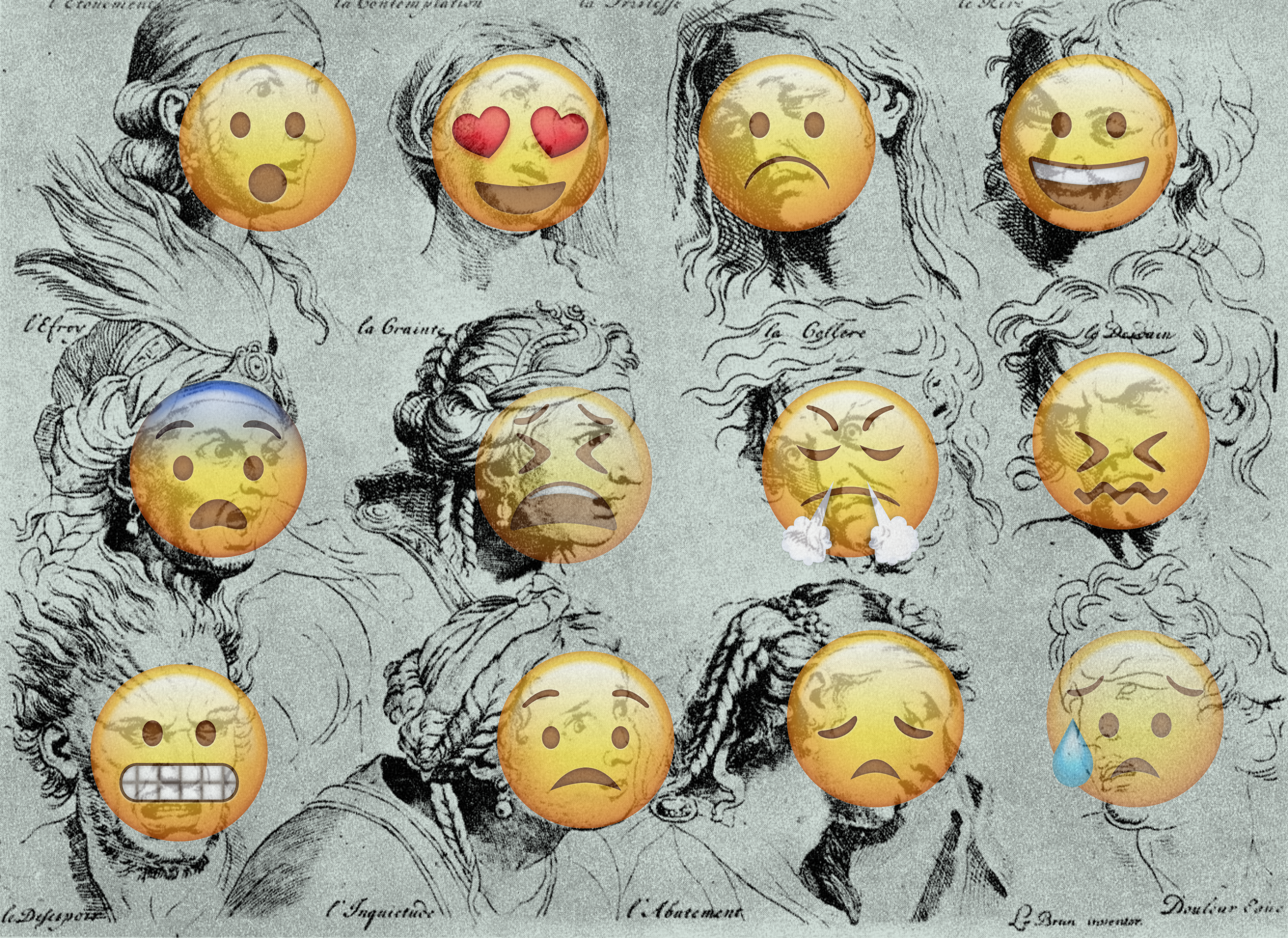 Les émotions de Georges LeBrtun avec des émoticons