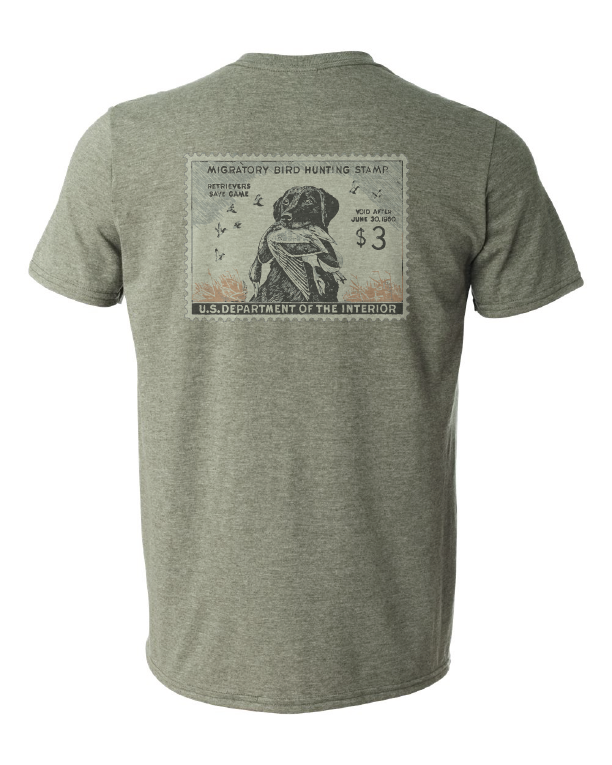 Duck Stamp Shirt Military Green Back