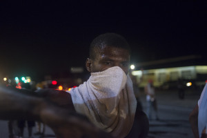 A protestor during demonstrations in Ferguson, Mo. on August 17, 2014. Jon Lowenstein—Noor for TIME
