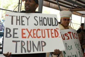 As evidence grew in 2002 to exonerate the Central Park Five, their supporters demanded an apology from Donald Trump, who, soon after their arrest, had called for the return of the death penalty.  Credit Frances Roberts
