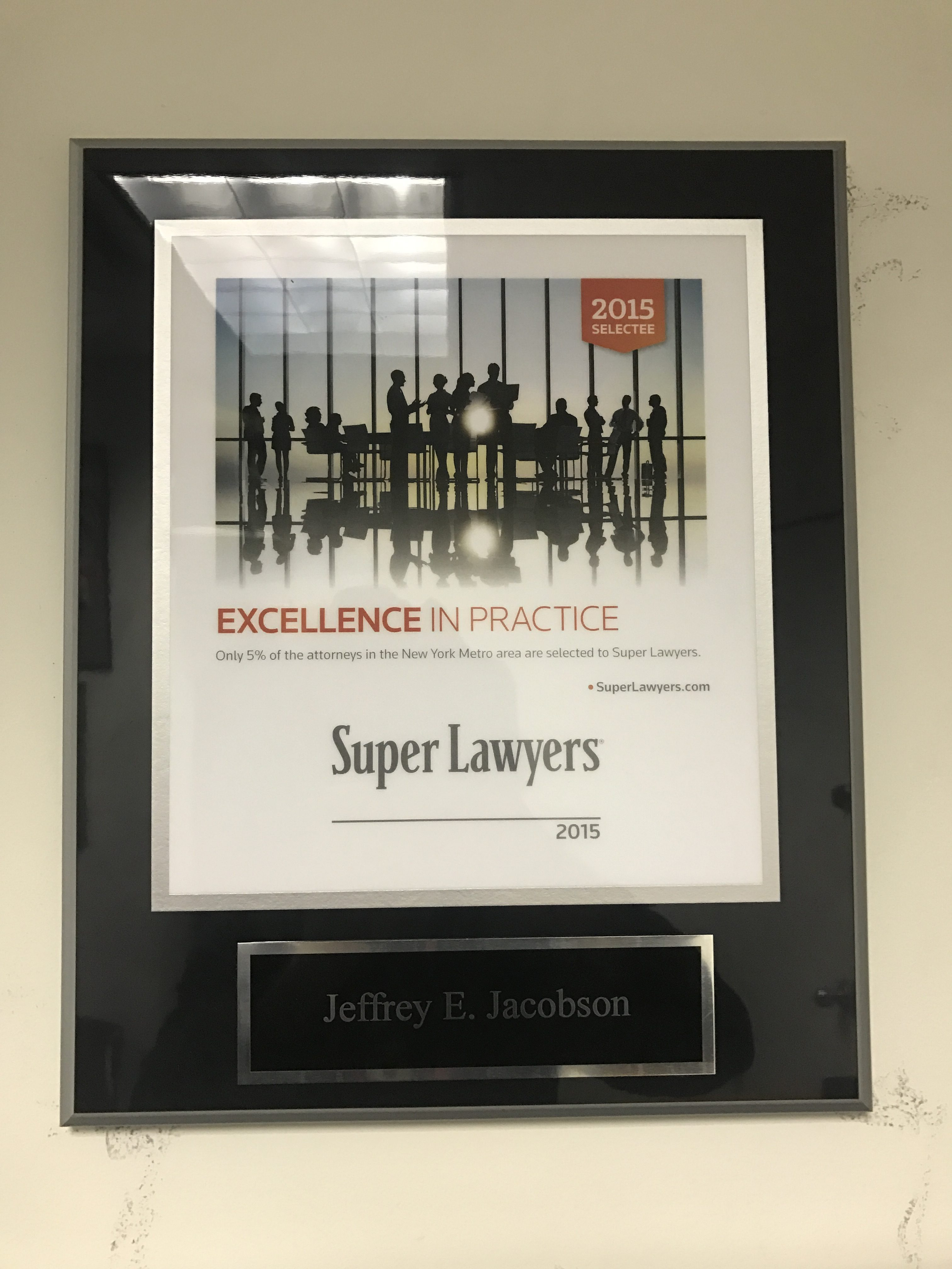 Jeffrey E. Jacobson selected as SuperLawyer