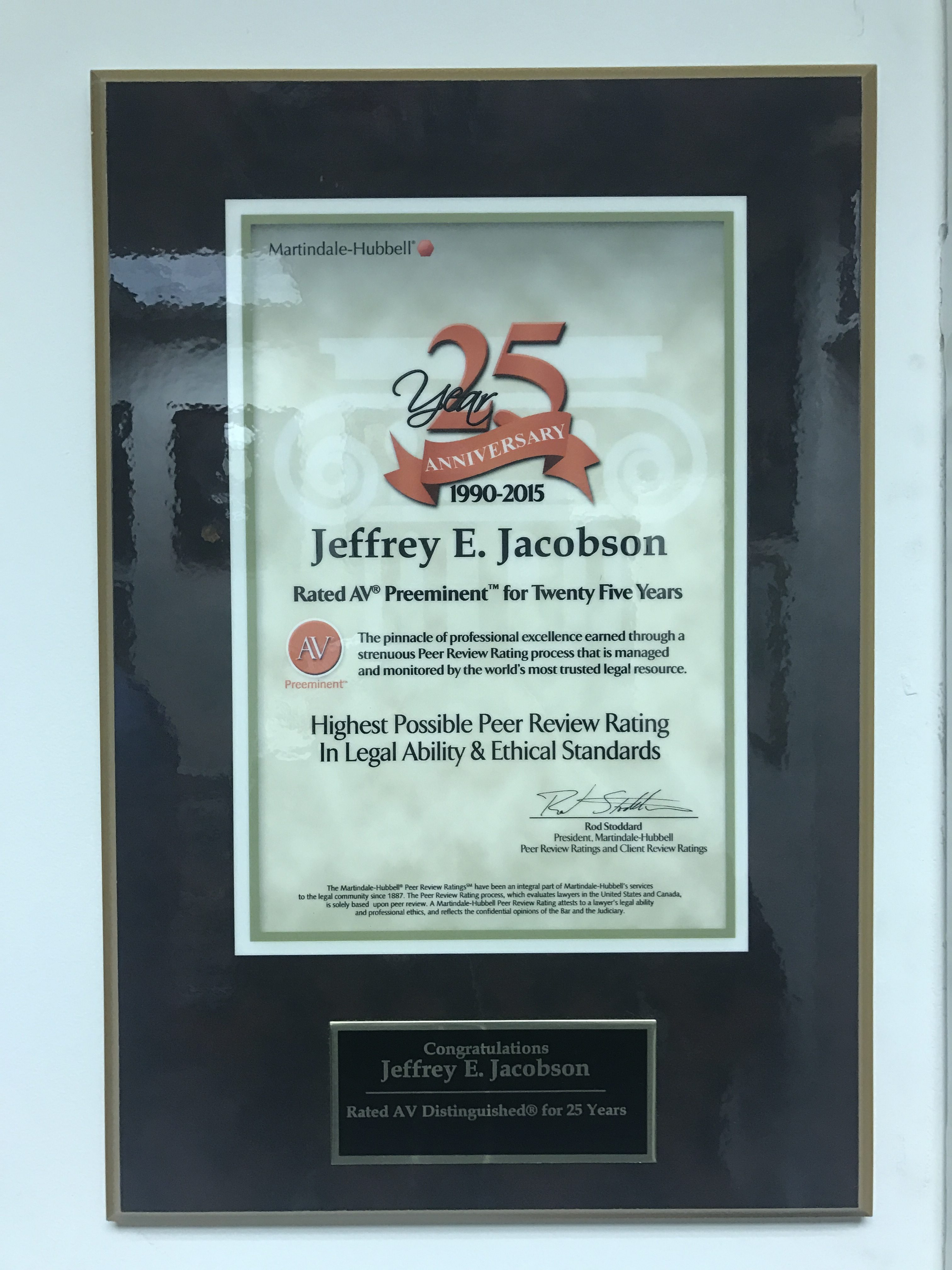 Jeffrey E. Jacobson received 25th Anniversary AV Rated