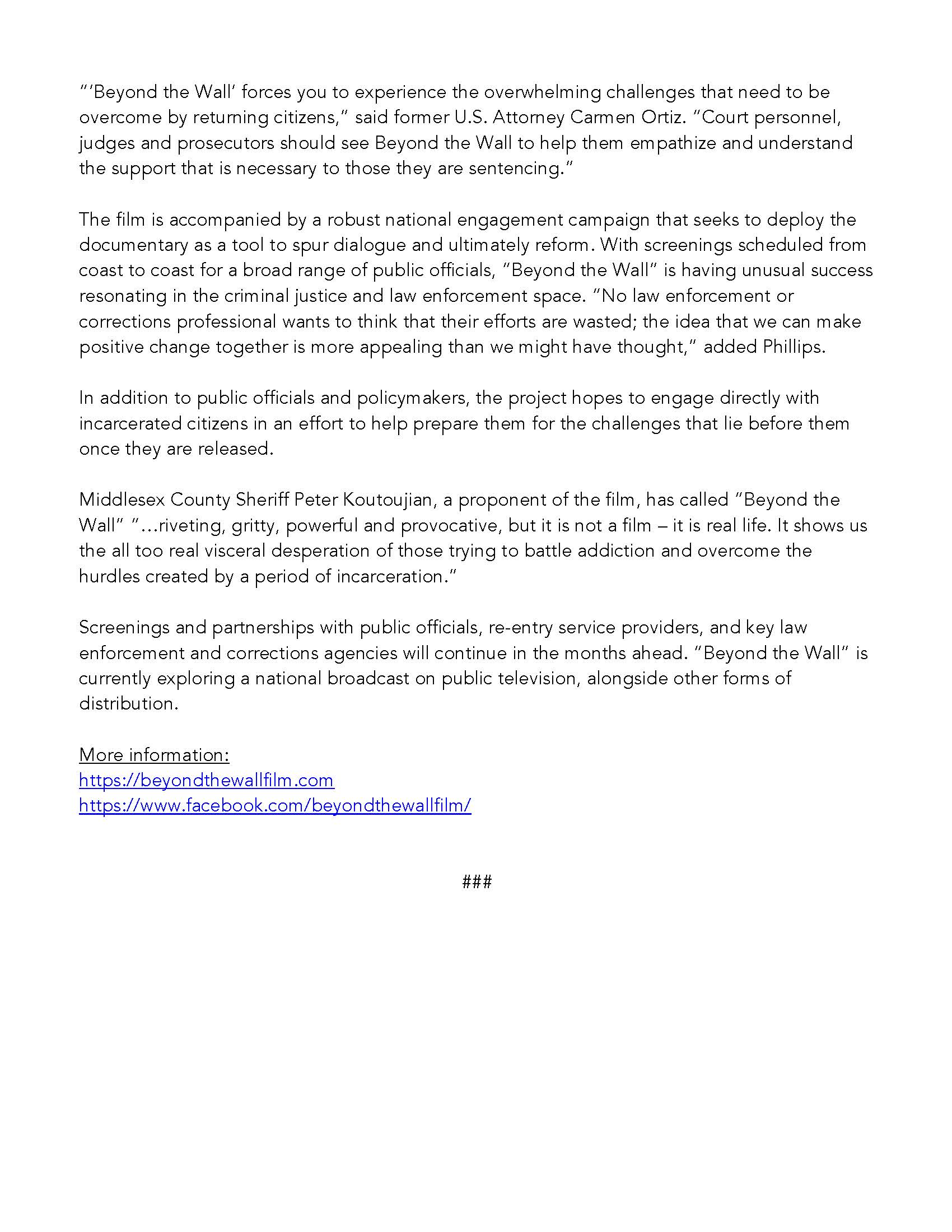 Beyond The Wall Press Release
