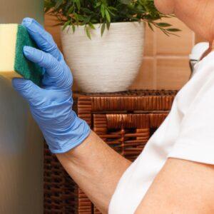 Hand of senior woman using sponge and wiping glass shower door in bathroom, household duties concept