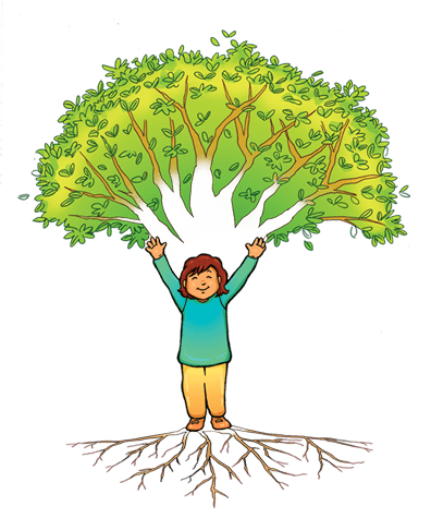Good Enough Parenting logo, a growing tree with a cheering child.